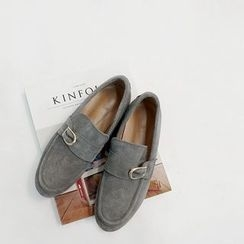 STYLEBYYAM - Genuine Leather Buckled Loafers