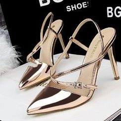 Mancienne - Wet-Look Pointy High-Heel Sandals
