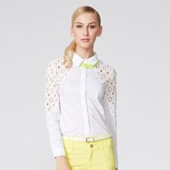 O.SA - Eyelet Lace-Panel Blouse