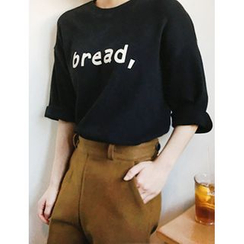 FROMBEGINNING - Elbow-Sleeve Lettering Long T-Shirt