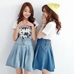 BAIMOMO - Denim Suspender Skirt