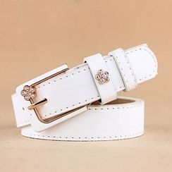 Charm n Style - Rhinestone Flower Faux Leather Belt