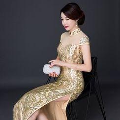 Posh Bride - Short-Sleeve Glitter Cheongsam