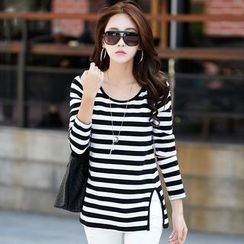Zyote - Stripe Slit Long-Sleeve T-shirt