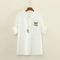 Mushi - Fox Embroidered Shirt