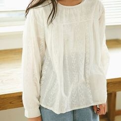 SUYISODA - Embroidered Long-Sleeve Blouse
