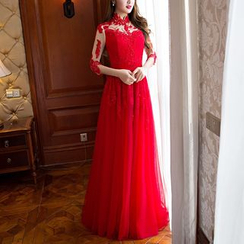 LYRA - Embellished 3/4-Sleeve Mandarin Collar A-Line Evening Gown