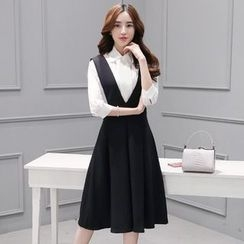 Ashlee - Set: 3/4-Sleeve Shirt + V-Neck Midi Pinafore Dress