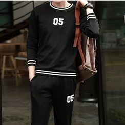Danjieshi - Set: Numbering Pullover + Sweatpants