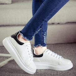 Solejoy - Contrast-Color Platform Couple Sneakers