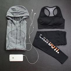 FAYE - 套装: 运动胸罩 + 拉链连帽衫 + 字母瑜伽裤