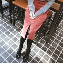 mimi&didi - Slit-Hem Corduroy Midi Skirt