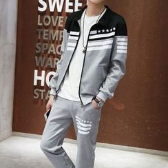 Danjieshi - Set: Printed Zip Jacket  + Sweatpants