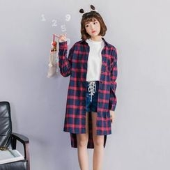 KANAMI - Long-Sleeve Plaid Long Shirt