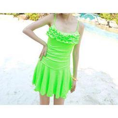 Jumei - 皱摺裙式泳衣