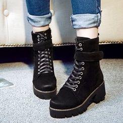 JY Shoes - Platform Lace Up Short Boots