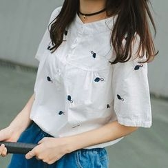 Wimi girls - Embroidered Short-Sleeve Top