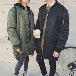 qiaqiayes - Couple Matching Long Padded Bomber Jacket