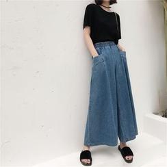 Sonne - 大口袋牛仔阔腿裤