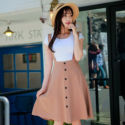 Envy Look - Set: Round-Neck T-Shirt + Suspenders Skirt
