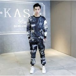 Esflow - Set: Printed Pullover + Sweatpants