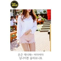 BONGJA SHOP - V-Neck Sheer Knit Top