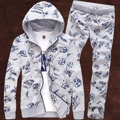 Blitz - Set: Printed Zip Hoodie + Sweatpants