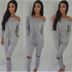 HOTCAKE - Long-Sleeve Off Shoulder Jumpsuit