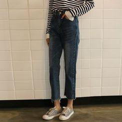Morever - Washed Slit-Hem Cropped Jeans