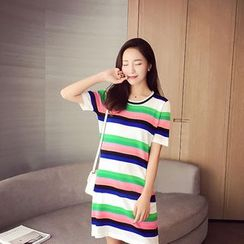 AIGIL - Short-Sleeve Striped T-Shirt Dress