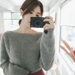 mimi&didi - Boat-Neck Wool Blend Knit Top