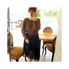 LEELIN - Set: Open-Knit Sweater + Sleeveless Lace Dress