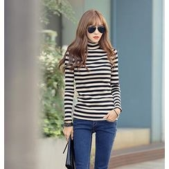 REDOPIN - Turtleneck Stripe Top