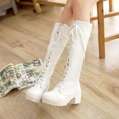 Pastel Pairs - Lace-Up Tall Boots