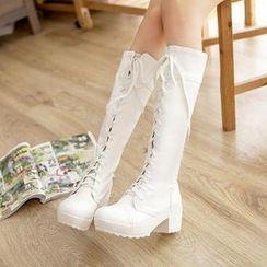 Pastel Pairs - 繫帶高身靴