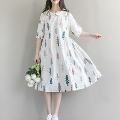 Clover Dream - Tree Print Elbow Sleeve Dress