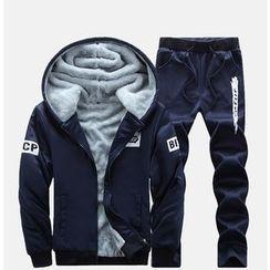Bay Go Mall - Set: Fleece Lined Hooded Jacket + Sweatpants