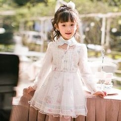 Candy Rain - Kids Floral Print Collared Long Sleeve Dress