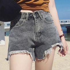 時尚麻豆家 - 做舊牛仔短褲