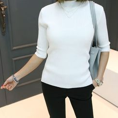 DANI LOVE - Mock-Neck Elbow-Sleeve Ribbed Top