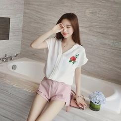 CHIH - Embroidered V-neck Chiffon Blouse