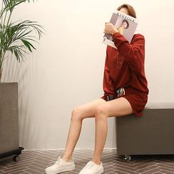 NANING9 - Cotton Plain Sweatshirt + Shorts