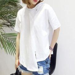 Tulander - 開衩斜擺短袖T恤