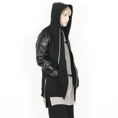 Rememberclick - Faux-Leather Sleeve Hoodie Zip-Up Jacket