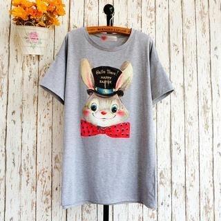 JVL - Short-Sleeve Rabbit Print T-Shirt