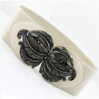 Charm n Style - Metal Feather Elastic Belt