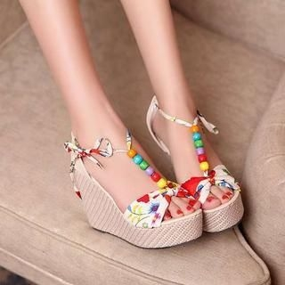 Pangmama - Floral Wedge Sandals