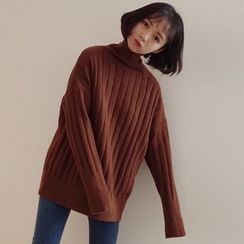 Bloombloom - Plain Turtleneck Ribbed Long Sweater