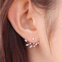 Cheermo - Rhinestone Leaves Earrings