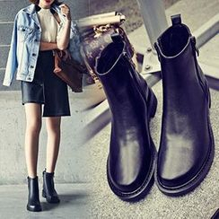 Gizmal Boots - 粗跟侧拉链及踝靴